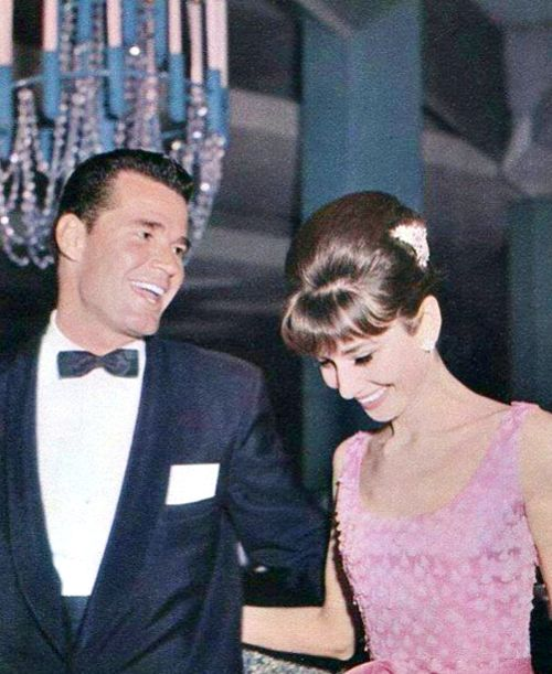 Audrey Hepburn and James Garner at the wrapt party of The Children's Hour, 1961   -