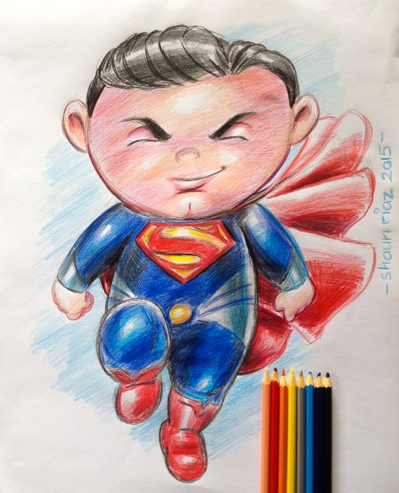 Lil' Superman. Color Pencils. 14x17. By Shaun Riaz.