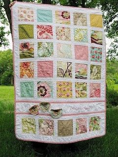 baby charm pack scrappy quilt with embroidered name