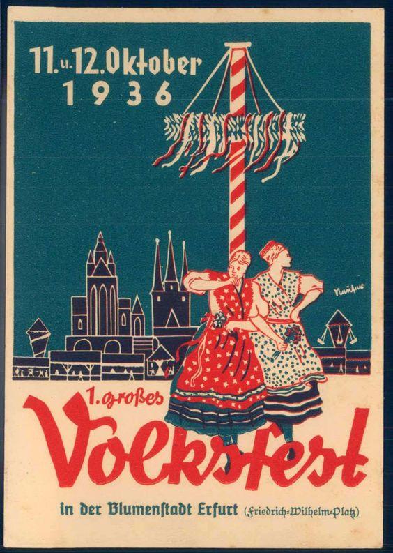 Germany, Postcard, großes Volksfest der Blumenstadt 1936, Friedrich Wilhelm Platz. Artist: Erfurt Thüringen.