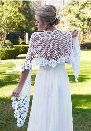 Spring Blooms Crochet Shawl Pattern- wedding shawl in white. Evening shawl in black or favourite colour.