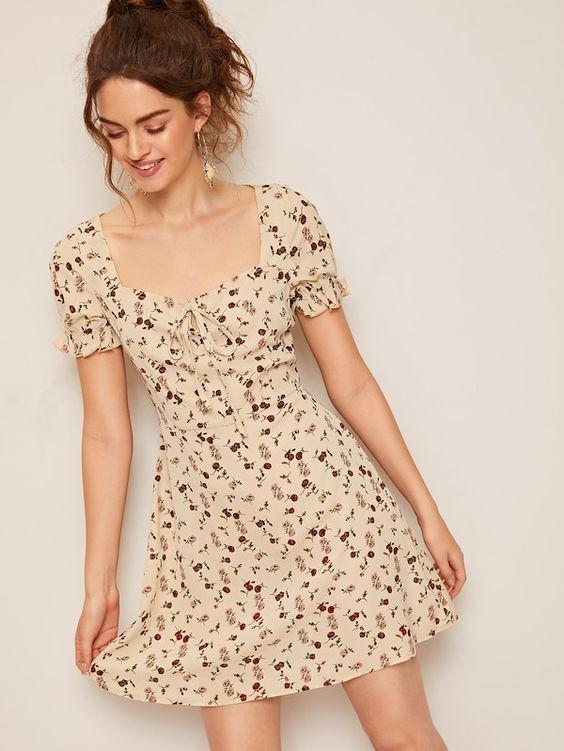 Цветочное платье с завязывающимся воротником | SHEIN