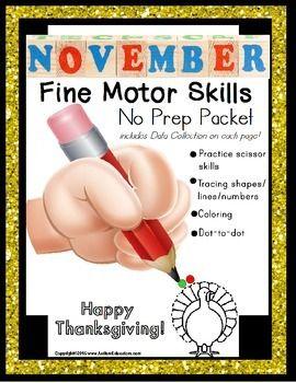 Fine motor skills worksheet packet for november for Adhd and fine motor skills