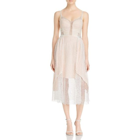 Three Floor Valencia Eyelet Overlay Dress ($330) ❤ liked on Polyvore featuring dresses, sheer overlay dress, pink eyelet dress, sheer dress, transparent dress and overlay dress