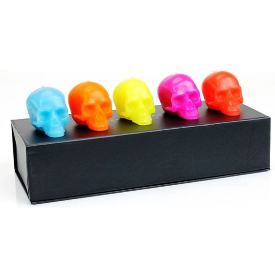 D.L. & CO Memento Mori set of five mini skull candles set ($87) ❤ liked on Polyvore featuring home, home decor, candles & candleholders, black skull candle, black candles, black home decor, gothic home decor and colored candles