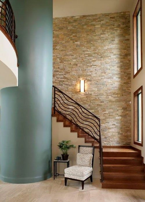 The Accent Wall Is A Wall Painted In A Different Shade From The | Stairs Wall Paint Design | Designer | Fancy | Beautiful | Staircase Railing Wood | Wall Colour