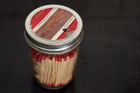 matches in a mason jar