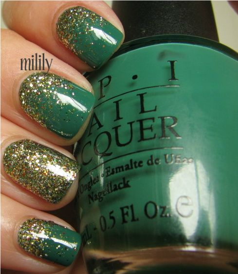 Jade is the new black with glitter gradient