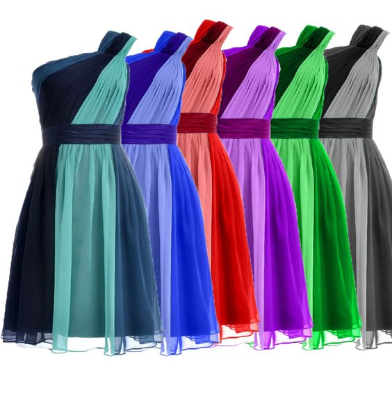 Find More Bridesmaid Dresses Information about Unique Three Colors Splice Chiffon Bridesmaid Dress short  Maid of Honor Dresses One Shoulder Prom Dress 2016 ,High Quality dress props,China dresses movie Suppliers, Cheap dress up girls dresses from Ayaya Dress Shop on Aliexpress.com