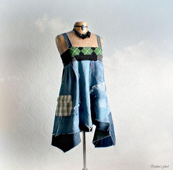 Babydoll Dress Boho Clothing Hippie Chic Mori Girl Blue A-Line Dress ...