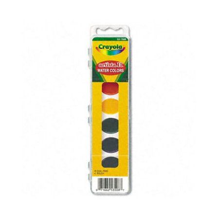 Crayola Artista Semi Moist Oval Pans Watercolor Set With Brush 8
