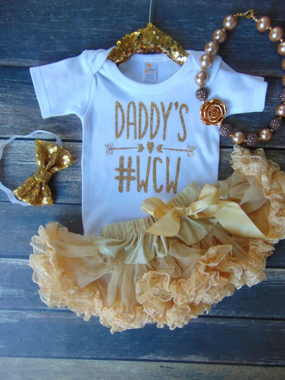 Daddy's WCW Bodysuit Gold Glitter Newborn by AnnMarieAvenue