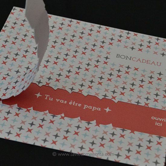 Bon cadeau annonce grossesse par LaVieEnMagenta sur Etsy