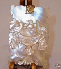 French Palais royal carnet du Bal in carved Mother of Pearl