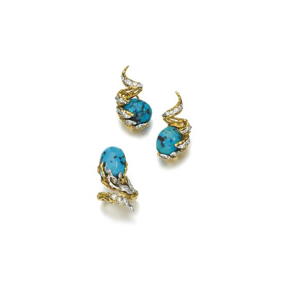 Turquoise and diamond demi-parure, Sterlé, 1960s Comprising: a pair of ear clips set with polished turquoises and brilliant-cut diamonds, within a textured mount, numbered, French assay marks; and a ring, size K; each signed Sterlé.
