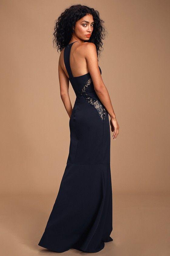 Lulus   Giavanna Navy Blue Lace Mermaid