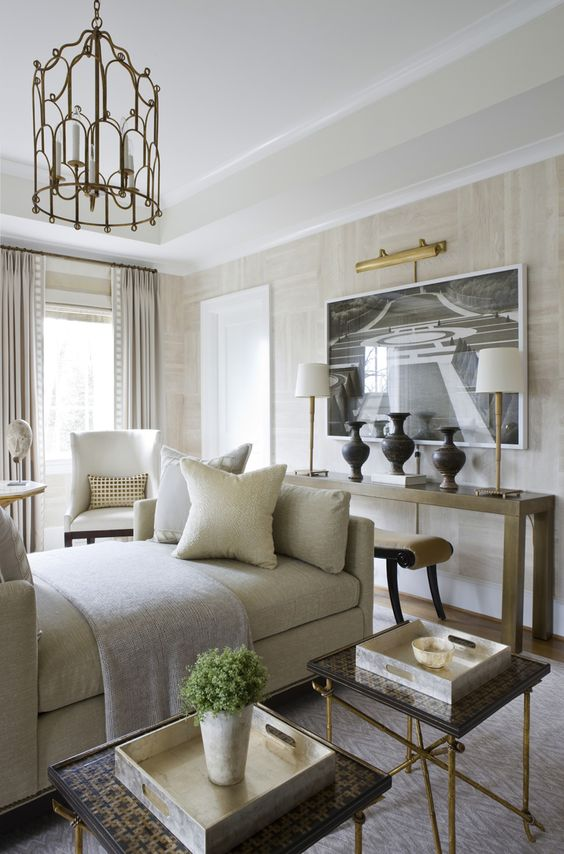 Sophisticated neutrals, wall treatment | Michael Hampton DC Design House I love the furniture arrangement