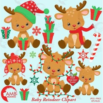 Christmas Reindeer Cliparts With Elements In Greens And Reds These Adorable Reindeer Are Perfect Fo Christmas Gift Tags Diy Christmas Clipart Christmas Crafts