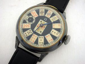 K44 Antique Omega Watch, with playing-cards face