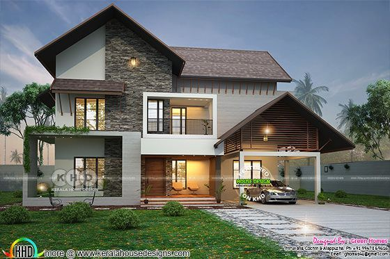 2900 Square Feet 4 Bhk Sloped Roof House Kerala House Design House Roof Small House Elevation Design