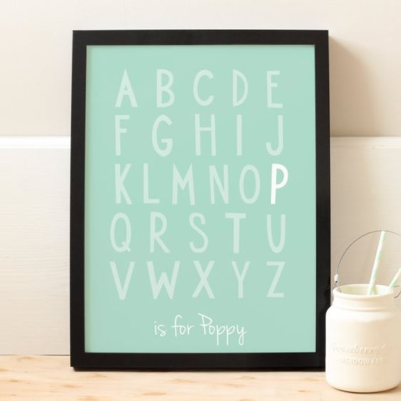 This personalised childrens alphabet print is perfect for any nursery or childs bedroom. The fun childrens alphabet print is an ideal gift and