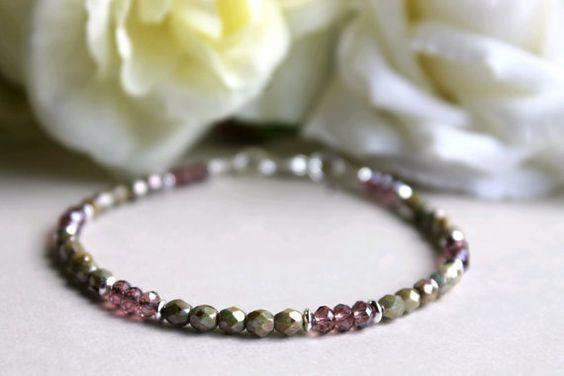 Fire Polished Glass Bead Bracelet with Amethyst by JLZCreations, $15.00