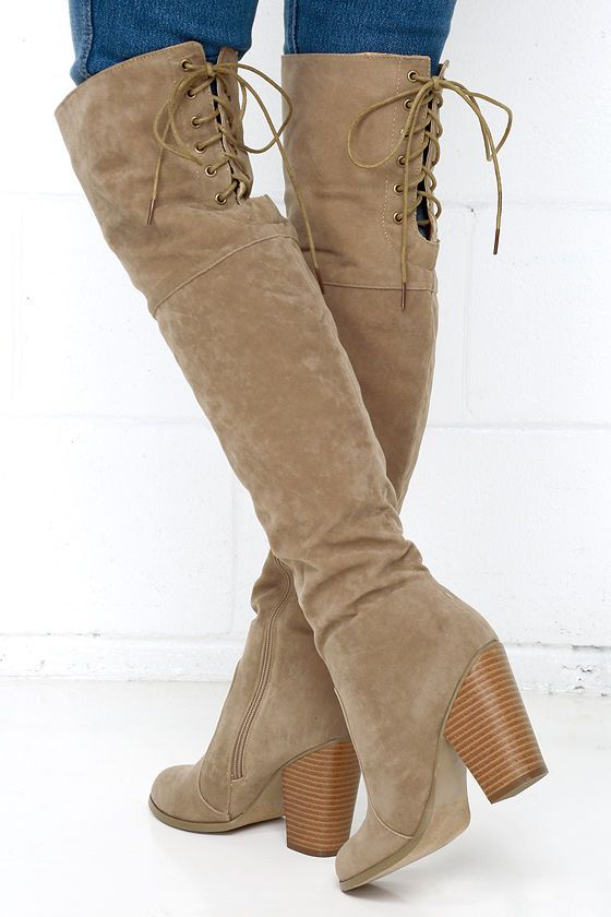 Mountain Crest Nude Suede Over the Knee Boots | High heel boots ...