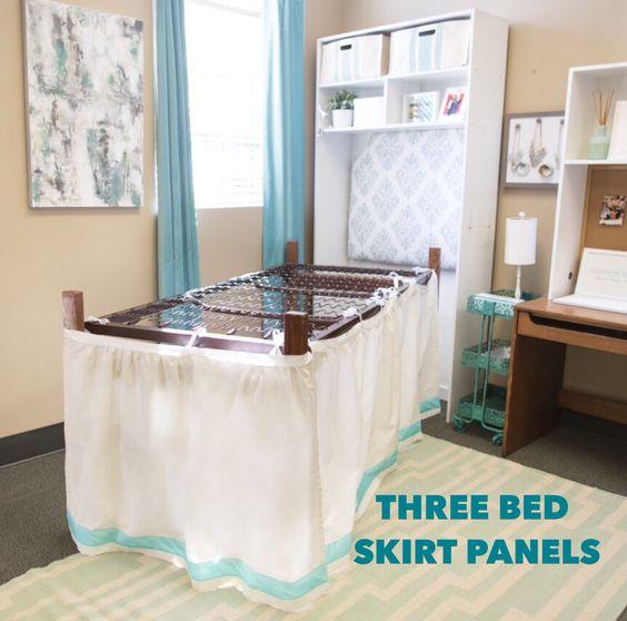 Bed Skirt Panel - White w/ Navy Ribbon – Dorm-Decor