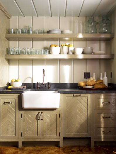 Huge apron sink and white, cream, watery blue, grey and gold. Awesome combination.