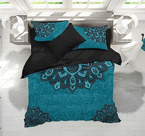 Bohemian Teal Bedding Dark Teal And Turquoise Mandala Du Https Smile Amazon Com Dp B0793k8zb8 Ref Cm Sw Teal Bedding Bed Linens Luxury Teal Bedding Sets