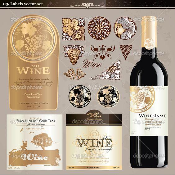 Conjunto de rótulos de vinhos — Ilustração de Stock #6013372