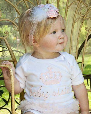 CC Baby Sister Ruffle Onesie Adorned with Swarovski Crystals!Matching Big Sister Tutu Dress and Headband Available!So Adorable in Photos!