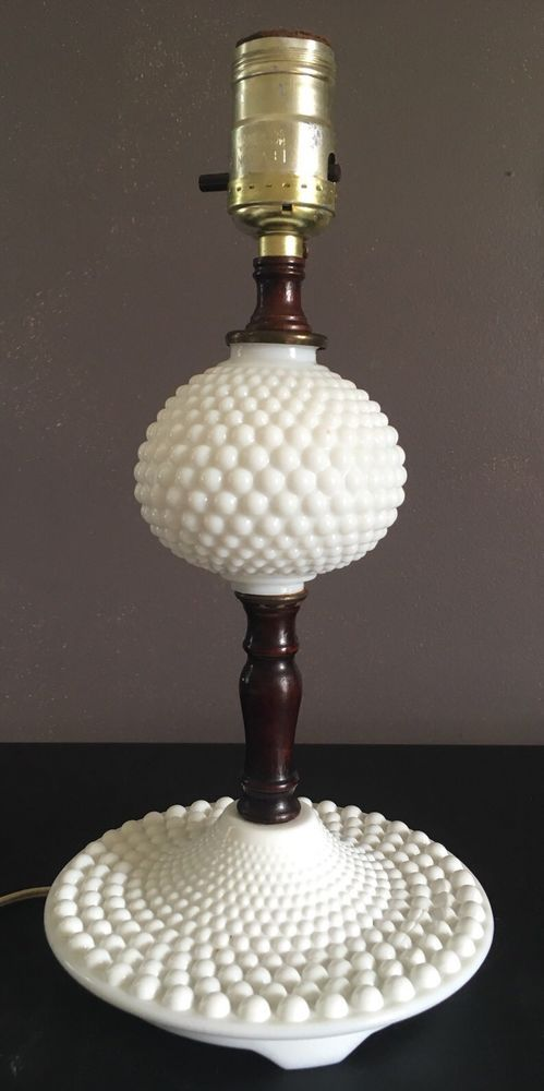 Vintage Hobnail White Milk Glass And Wood Electric Table Lamp