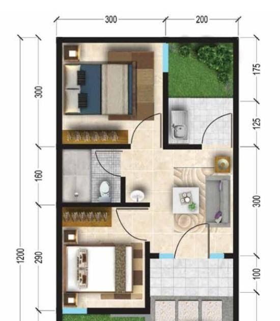 Desain Rumah Minimalis 3 Kamar Ini Menggambarkan Tiga Kamar Yang Berhadapan Dan Ruang Tamu Diapit Ditengah Permainan Garis Pada Denah Rumah Rumah Desain Rumah