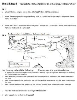 ancient china silk road worksheet think sheet tci ch 24 world history the o 39 jays and the silk. Black Bedroom Furniture Sets. Home Design Ideas