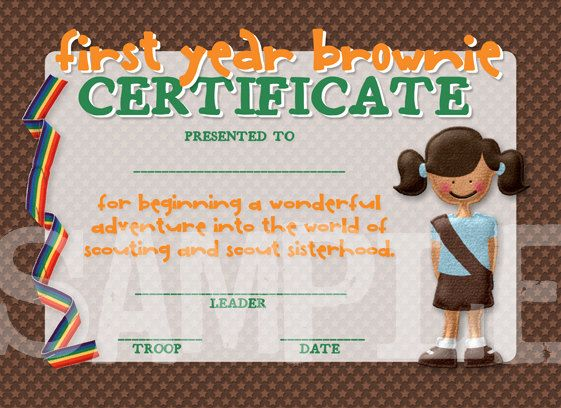 Girl Scouts First Year Brownie Certificate Girl Scouts - first place award certificate