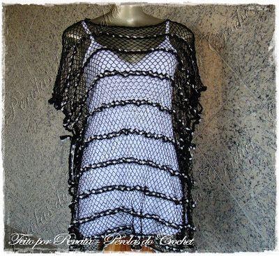 * Pérolas do Crochet: Blusa Kafta em croche com fio renda