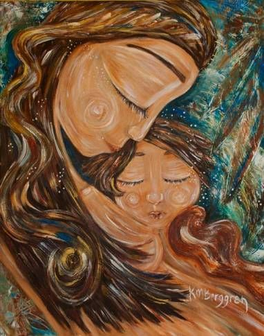 mother child art by Katie M. Berggren. painting