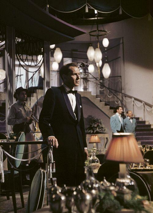 Frank Sinatra on the set of Pal Joey, 1957.