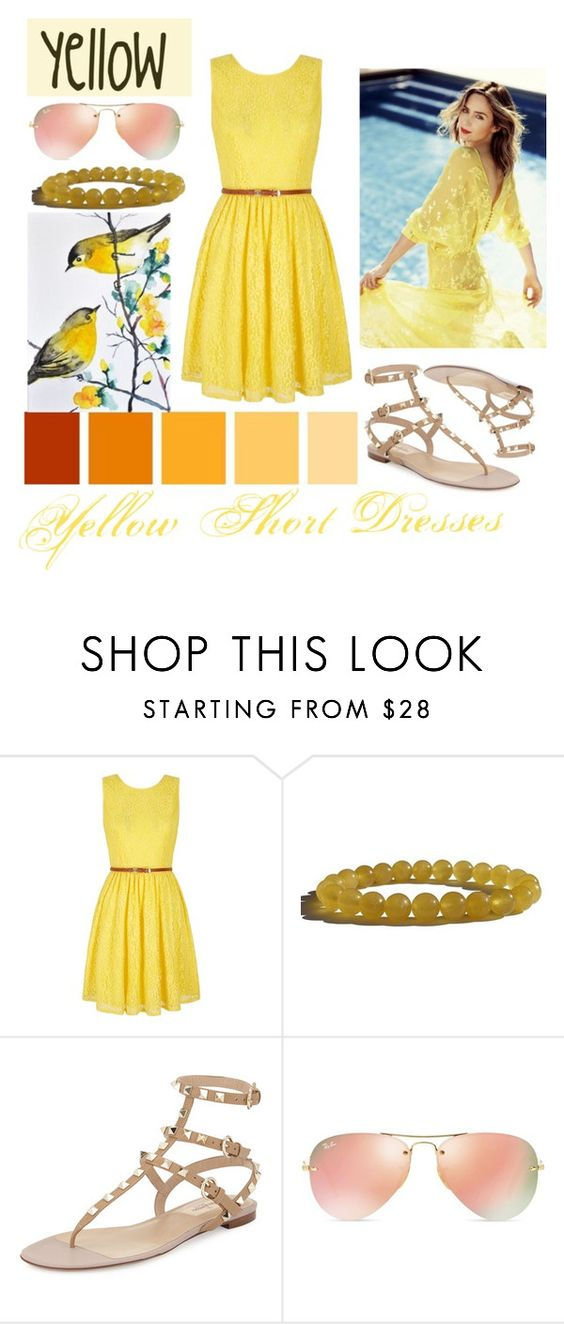 """Yellow Short Dresses"" by nina-chic ❤ liked on Polyvore featuring Yumi, Valentino, Ray-Ban, women's clothing, women, female, woman, misses and juniors"