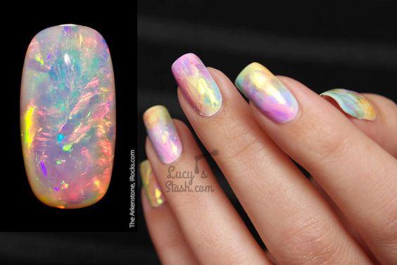 Rainbow Opal Nails TUTORIAL - The Shattered Glass Technique  http://www.lucysstash.com/2015/12/rainbow-opal-nails-tutorial-the-shattered-glass-technique.html