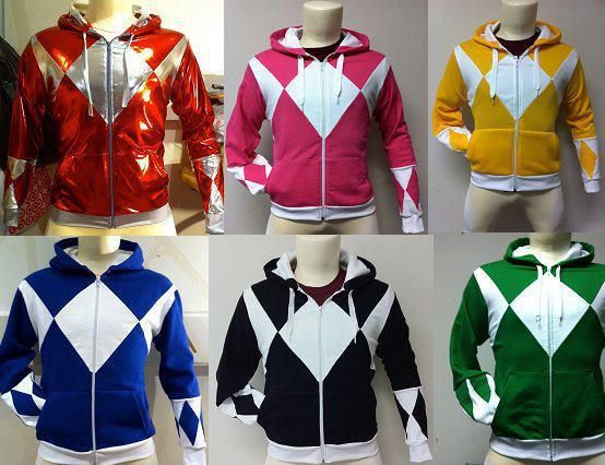 Power Ranger hoodies.  I want the green one but it should have the shield with it.