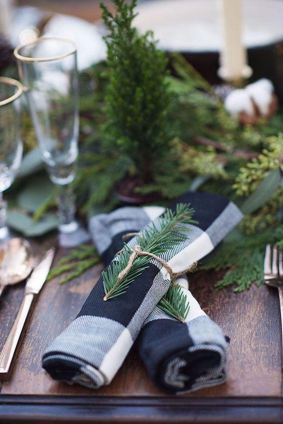 Blue and white buffalo check napkins - Christmas decorating