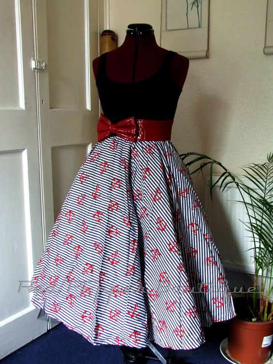 Classic (Calf Length) Nautical and Anchor Rockabilly Full Circle Swing Skirt.
