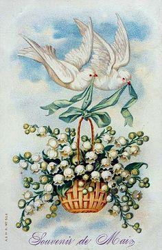 "Vintage May Day card - ""souvenir de Mai"" with doves and lily of the valley - carte vintage de 1e Mai avec colombes et muguet de bois"