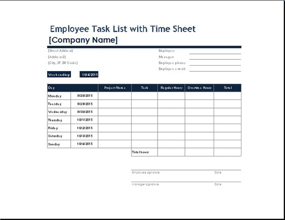 You can get your own employee task list template from here and - employee timesheet