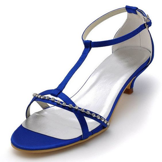 "Fashion Royal Blue Sandals Open Toe Rhinestone T Strap 2"" Cone ..."