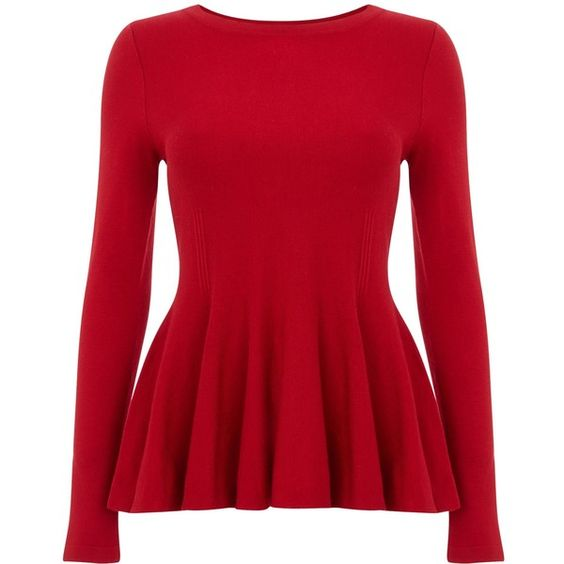 Phase Eight Maritza peplum knit top ($67) ❤ liked on Polyvore featuring tops, sweaters, clearance, red, red top, phase eight, red sweater, red peplum sweater and long-sleeve peplum top