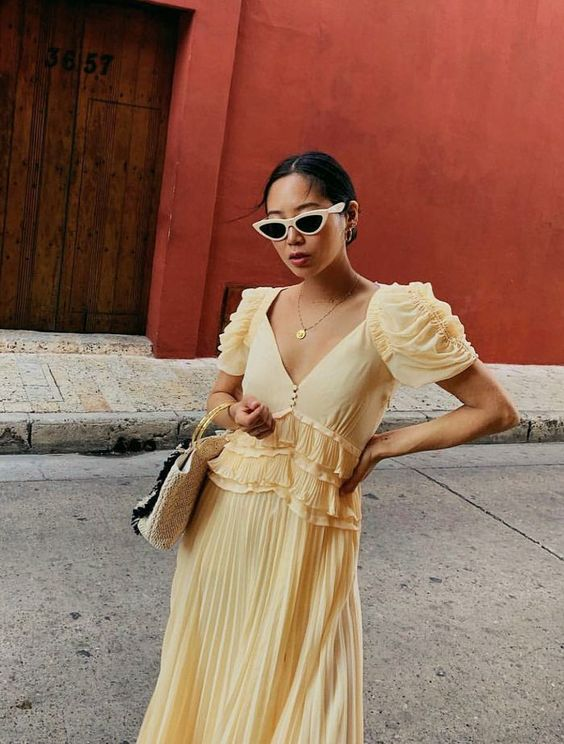 Best Self-Portrait Dresses: Aimee has also snapped up the style in yellow.