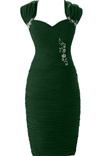 Sunvary Sheath Chiffon Mother of the Bride Dress Prom Gowns Short Size 26W- Dark Green